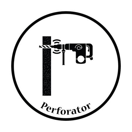 perforator: Icon of perforator drilling wall. Thin circle design. Vector illustration. Illustration