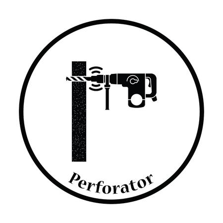 perforator: Icon of perforator drilling wall. Thin circle design. Vector illustration. Illustration