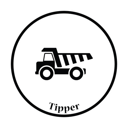 tipper: Icon of tipper. Thin circle design. Vector illustration.