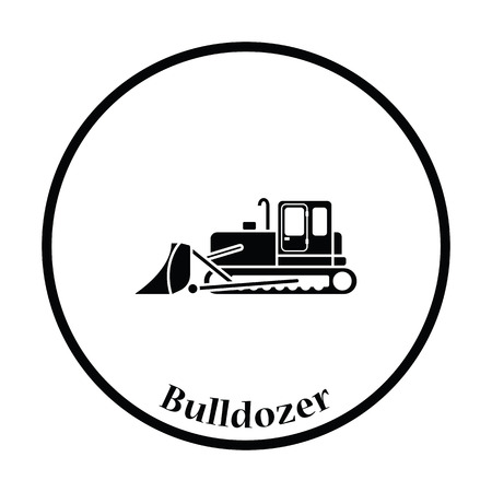 wheeled tractor: Icon of Construction bulldozer. Thin circle design. Vector illustration.