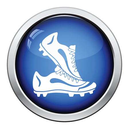 football boots: Icon of football boots. Glossy button design. Vector illustration.