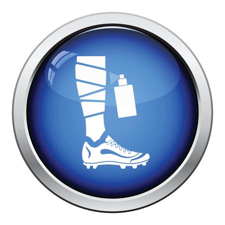 anesthetic: Icon of football bandaged leg with aerosol anesthetic. Glossy button design. Vector illustration.
