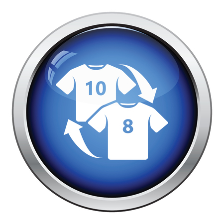 replace: Icon of football replace . Glossy button design. Vector illustration.
