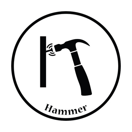 hammers: Icon of hammer beat to nail. Thin circle design. Vector illustration.