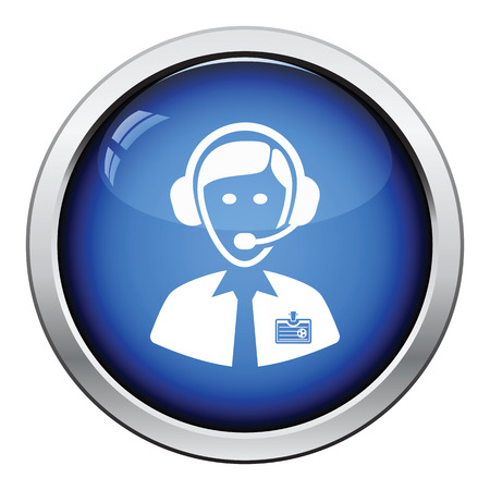commentator: Icon of football commentator. Glossy button design. Vector illustration.
