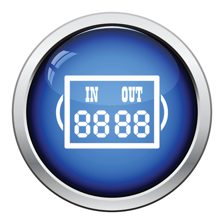wad: Icon of football referee scoreboard. Glossy button design. Vector illustration.