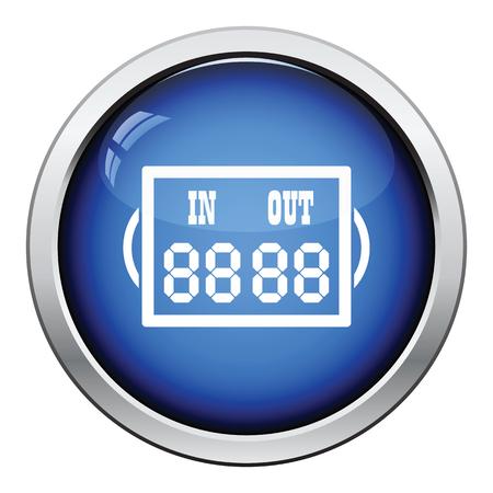 football referee: Icon of football referee scoreboard. Glossy button design. Vector illustration.