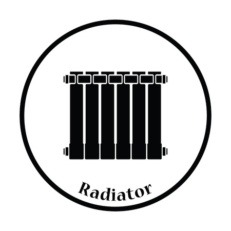 thawing: Icon of Radiator. Thin circle design. Vector illustration. Illustration