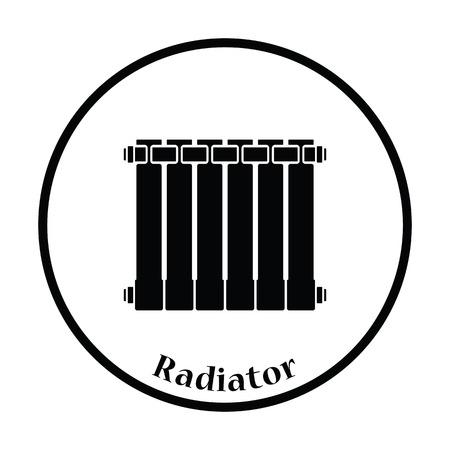 thawing: Icon of Radiator. Thin circle design. Vector illustration. Illustration