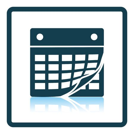 in reflection: Calendar icon. Shadow reflection design. Vector illustration.