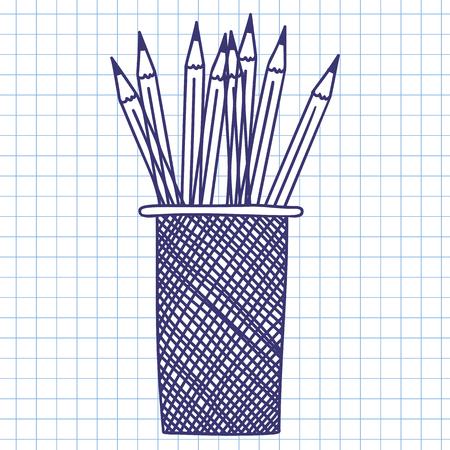 case: Pencil case. Doodle sketch on checkered paper background. Vector illustration. Illustration