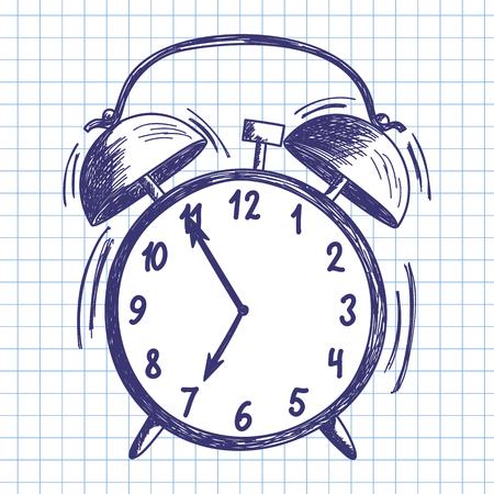 alarm clock: Alarm clock. Doodle sketch on checkered paper background. Vector illustration.