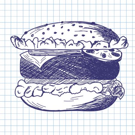 school illustration: Hamburger. Doodle sketch on checkered paper background. Vector illustration.