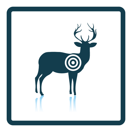 shadow silhouette: Deer silhouette with target  icon. Shadow reflection design. Vector illustration.