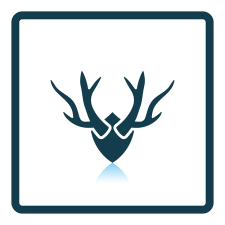 taxidermy: Deers antlers  icon. Shadow reflection design. Vector illustration. Illustration