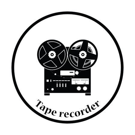 recorder: Reel tape recorder icon. Thin circle design. Vector illustration.