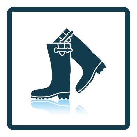 hunter's: Hunters rubber boots icon. Shadow reflection design. Vector illustration. Illustration