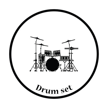 school kit: Drum set icon. Thin circle design. Vector illustration.