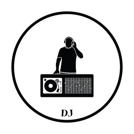 disc jockey: DJ icon. Thin circle design. Vector illustration. Illustration