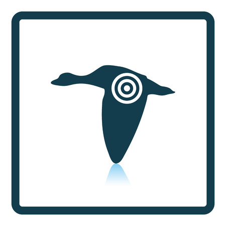 duck silhouette: Flying duck  silhouette with target  icon. Shadow reflection design. Vector illustration.