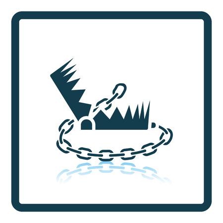 bear trap: Bear hunting trap  icon. Shadow reflection design. Vector illustration.