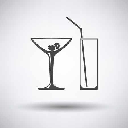 coctail: Coctail glasses icon on gray background, round shadow. Vector illustration.