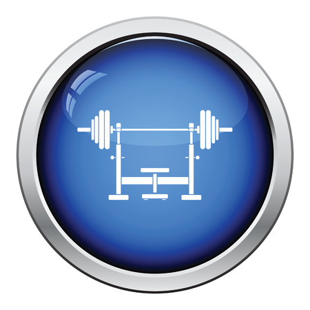 barbel: Bench with barbel icon. Glossy button design. Vector illustration.