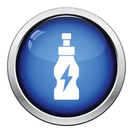 energy drinks: Energy drinks bottle icon. Glossy button design. Vector illustration.