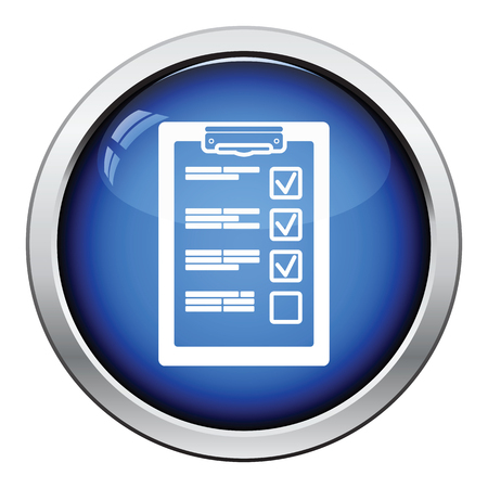 document: Training plan tablet icon. Glossy button design. Vector illustration.