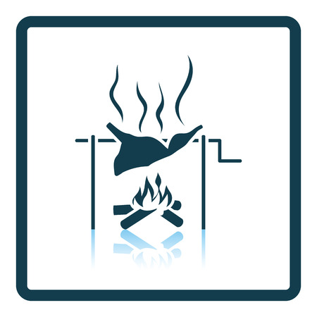embers: Roasting meat on fire icon. Shadow reflection design. Vector illustration.