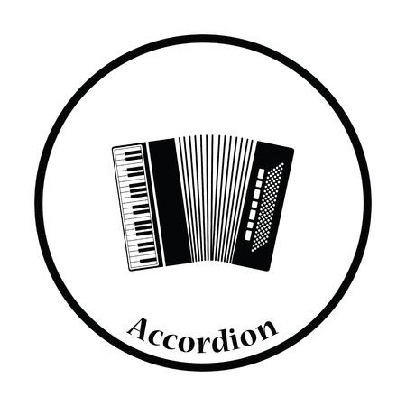 concertina: Accordion icon. Thin circle design. Vector illustration.