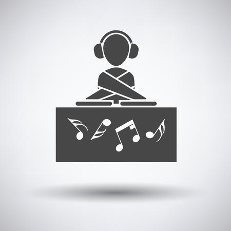 night club: Night club DJ icon on gray background, round shadow. Vector illustration. Illustration