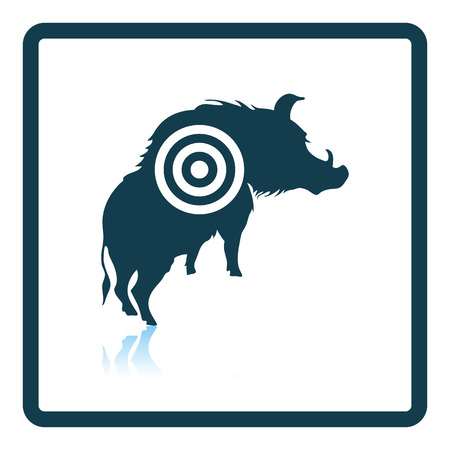 shadow silhouette: Boar silhouette with target icon. Shadow reflection design. Vector illustration. Illustration