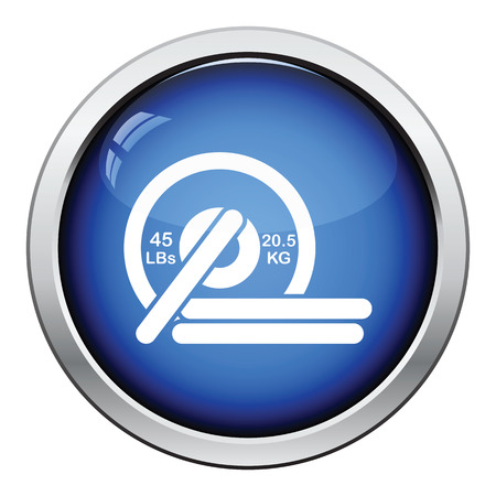 disks: Barbell disks icon. Glossy button design. Vector illustration.
