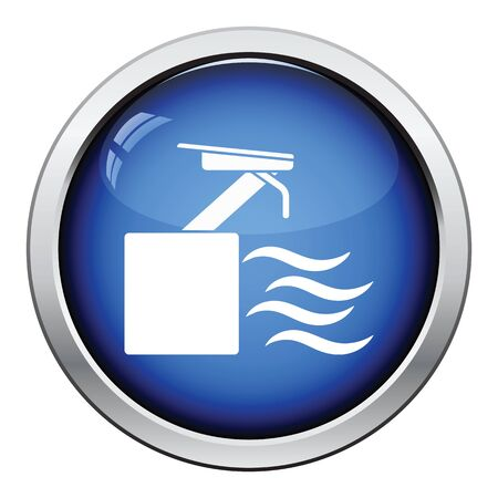 swiming: Diving stand icon. Glossy button design. Vector illustration.