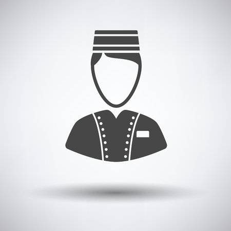 doorkeeper: Hotel boy icon on gray background with round shadow. Vector illustration.