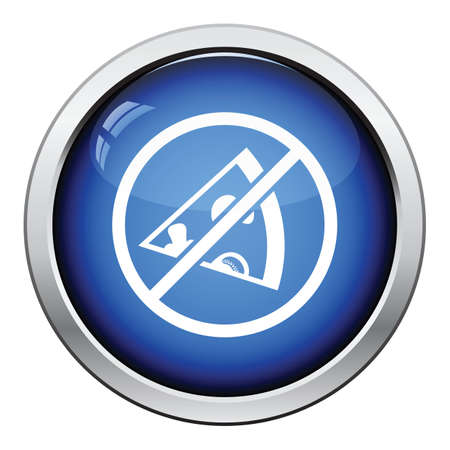 savory: Prohibited pizza icon. Glossy button design. Vector illustration.