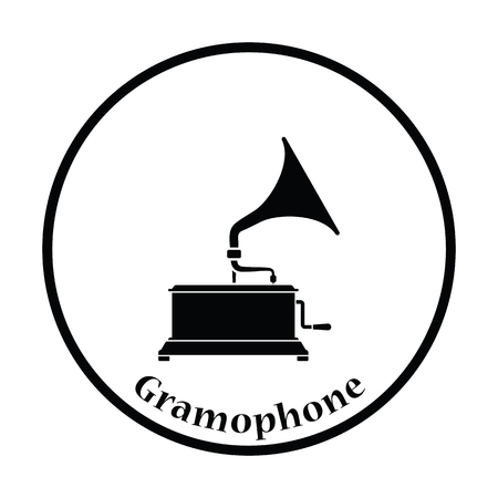 restored: Gramophone icon. Thin circle design. Vector illustration. Illustration