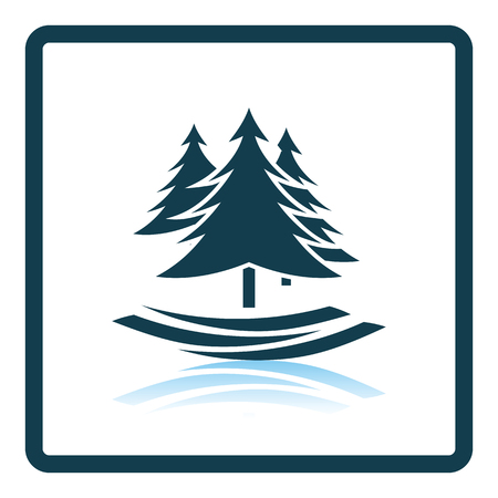 spruce: Fir forest  icon. Shadow reflection design. Vector illustration. Illustration