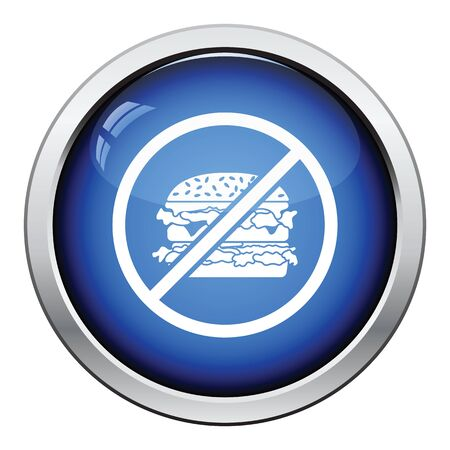 prohibido: Prohibido hamburguesa icono. Dise�o brillante del bot�n. Ilustraci�n del vector.