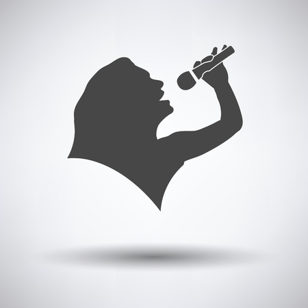 people silhouette: Karaoke womans silhouette icon on gray background, round shadow. Vector illustration.