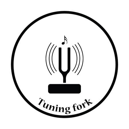 Tuning fork icon. Thin circle design. Vector illustration.