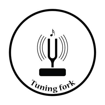 tuning fork: Tuning fork icon. Thin circle design. Vector illustration.