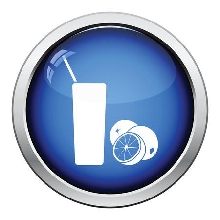 orange juice glass: Orange juice glass icon. Glossy button design. Vector illustration.