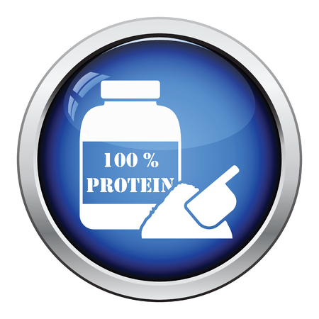 gainer: Protein conteiner icon. Glossy button design. Vector illustration.