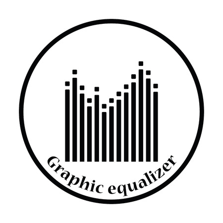graphic equalizer: Graphic equalizer icon. Thin circle design. Vector illustration.