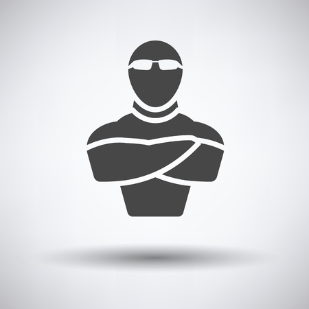muscular control: Night club security icon on gray background, round shadow. Vector illustration.