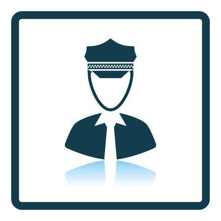 chofer: icono de taxista. diseño de la sombra reflexión. Ilustración del vector.