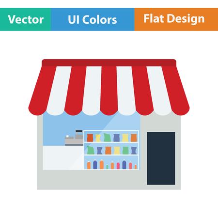 buy local: Tent shop icon. Flat design. Vector illustration. Illustration