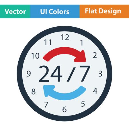 24 hour: 24 hour icon. Flat design. Vector illustration.